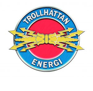 Trollhättan Energis logotyp vit payoff
