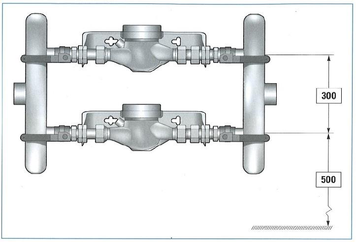Två parallellkopplade vattenmätare.