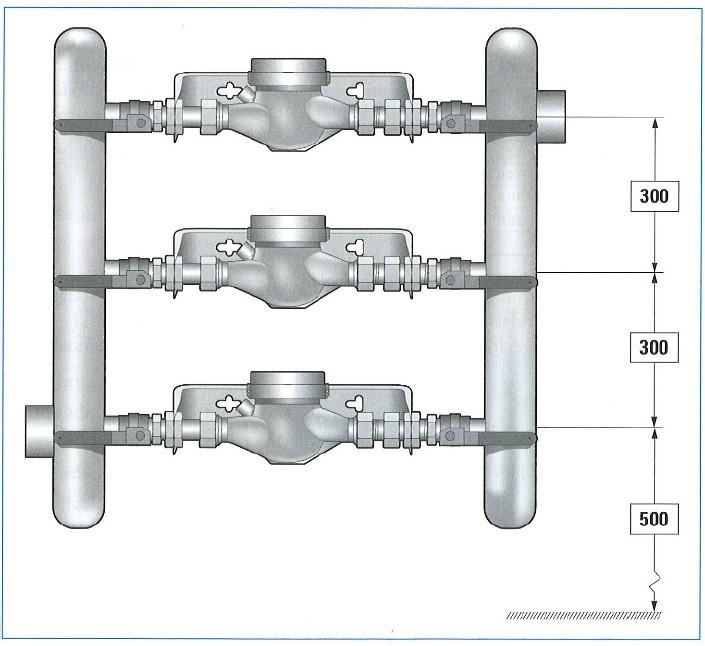 Tre parallellkopplade vattenmätare.